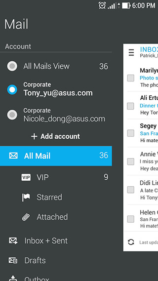 ASUS Email скриншот 1