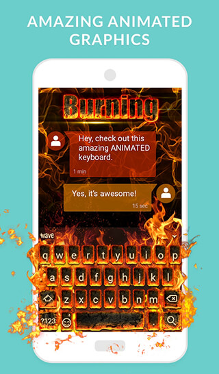 Wave Keyboard + Animated Themes, Emoji and GIFs скриншот 2