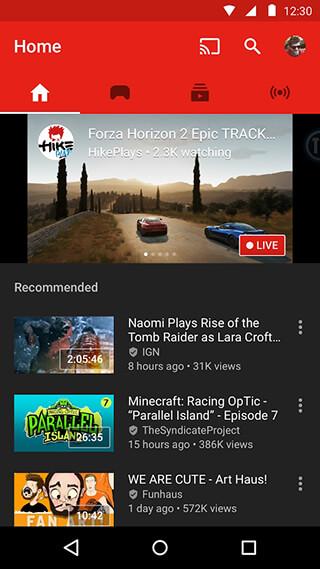 YouTube Gaming скриншот 1