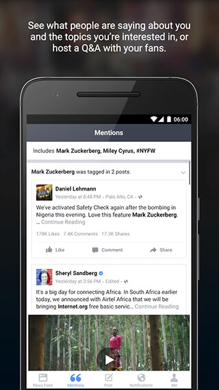 Facebook Mentions скриншот 4