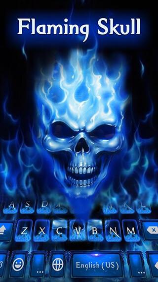Flaming Skull Kika Keyboard Theme скриншот 1