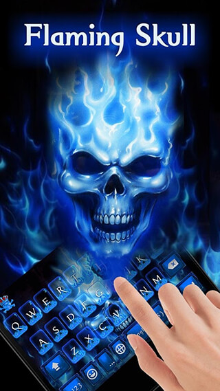 Flaming Skull Kika Keyboard Theme скриншот 2