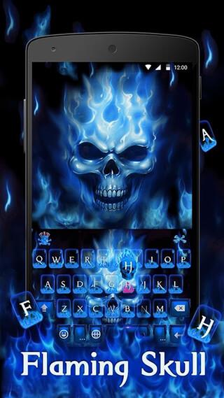 Flaming Skull Kika Keyboard Theme скриншот 3