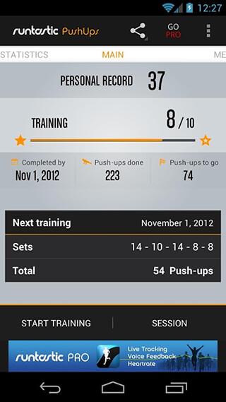Runtastic Push-Ups Counter and Exercises скриншот 1