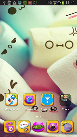 Cute Cartoon Marshmallow Comic Theme: Candy Skins скриншот 2