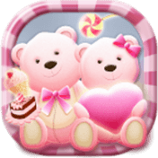 Cute Bear Lovehoney with Pink Hearts DIY Theme иконка