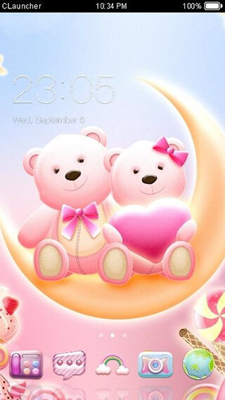 Cute Bear Lovehoney with Pink Hearts DIY Theme скриншот 1