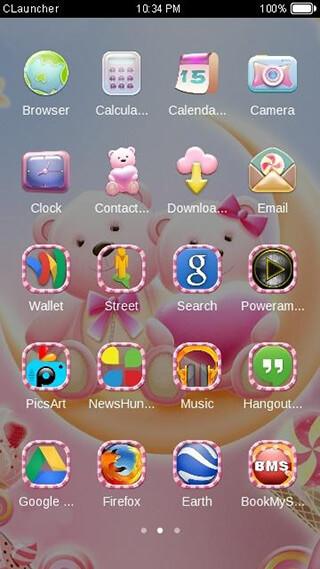 Cute Bear Lovehoney with Pink Hearts DIY Theme скриншот 3