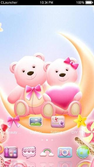 Cute Bear Lovehoney with Pink Hearts DIY Theme скриншот 4