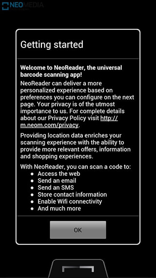 NeoReader QR and Barcode Scanner скриншот 1