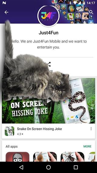 Cat Walks in Phone Cute Joke скриншот 2